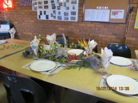 Tables beautifully arranged by Elma sw of Gawie ZS6GJJ