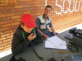 One of the Scouts calling CQ under the supervision of Wally ZS6BCI