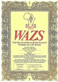 Pam ZS6APT - First YL to achieve WAZS 700